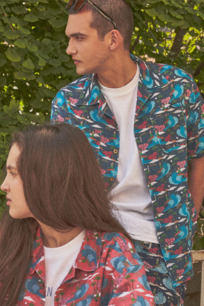 AWESOME IMAGINATION AWESOME DTP-ALOHA HALF SHIRT Navy