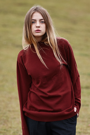 AWESOME IMAGINATION STANDARD WOOL HALF TURTLE NECK Wine